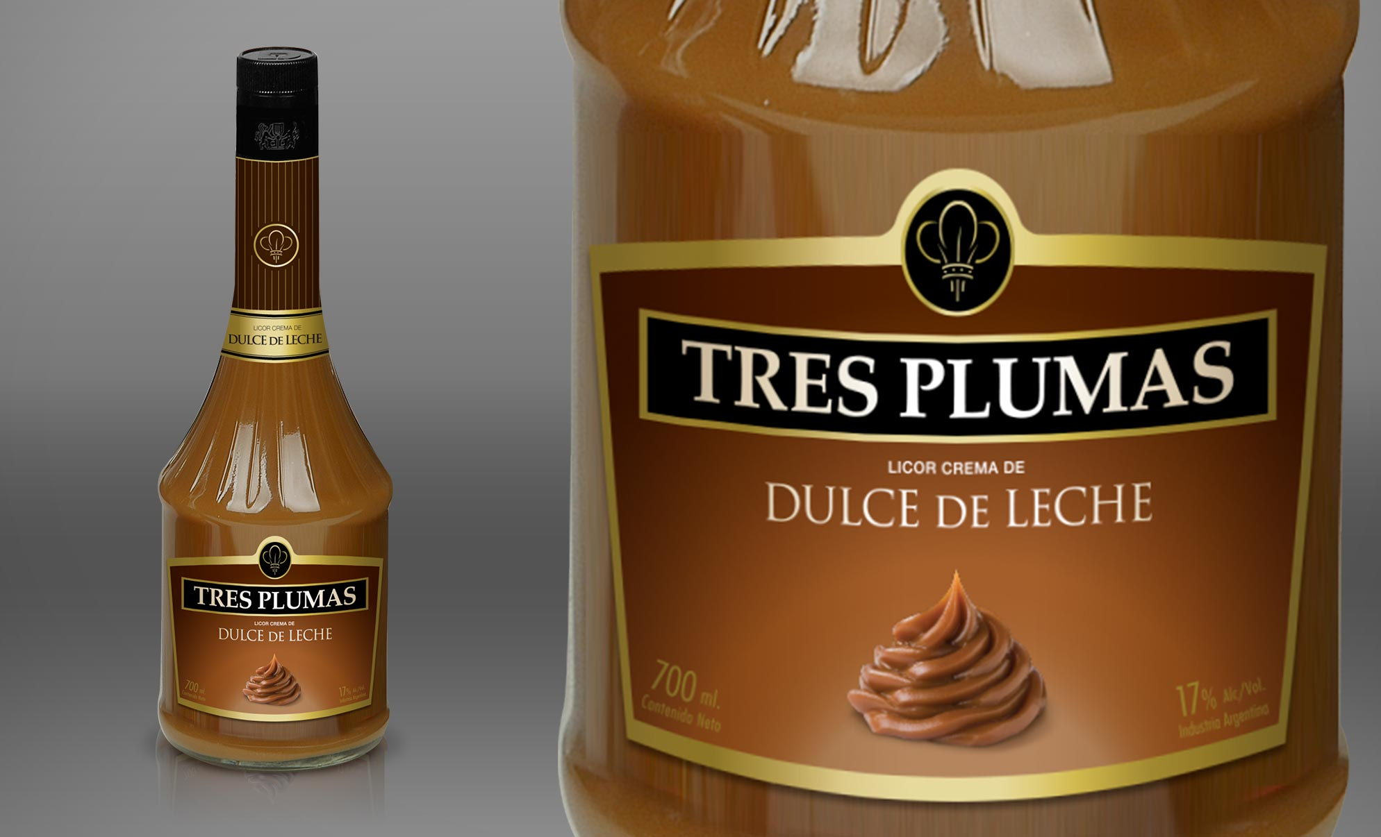 Dellepiane Tres Plumas Liquors Packaging Bottle Dulce de Leche