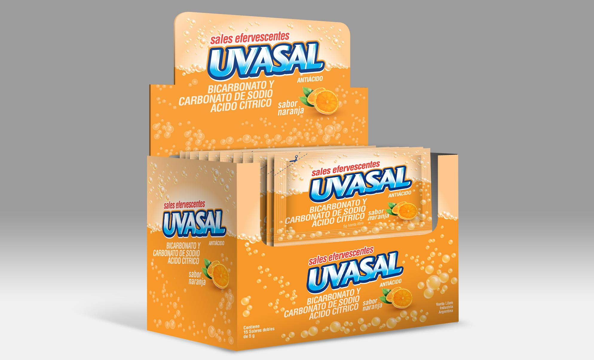 Glaxosmithkline Uvasal POP Packaging Naranja